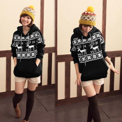 Women Cute Deer Print Hoodie Jacket..