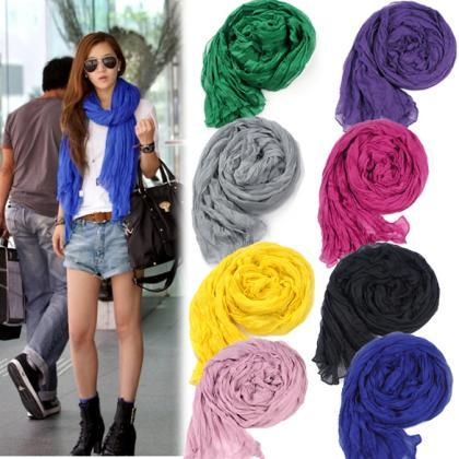 Women's Long Crinkle Scarf Wraps So..