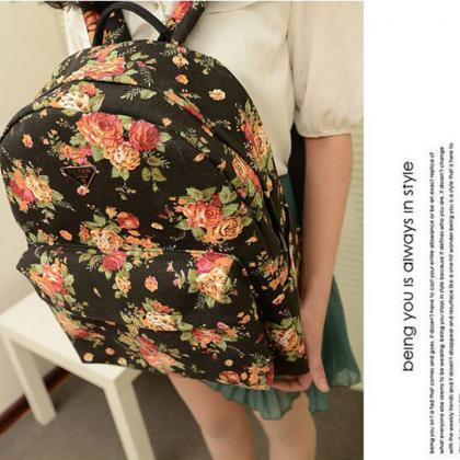 Canvas Flower Rucksack School Backp..