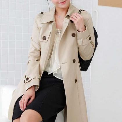 Double Breasted Lapel Long Trench C..