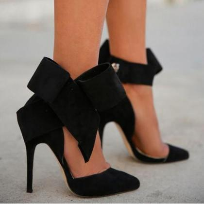 Fashion Removable Big Bow High Heel..