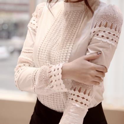 High Neck Lace Hollow Out Long Slee..