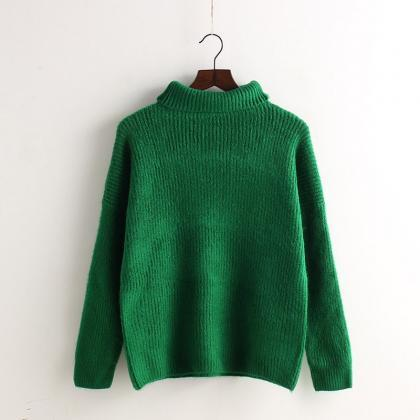 High Collar Loose Pullover Ribbed K..