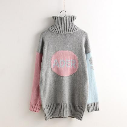 High Neck Contrast Color Pullover K..