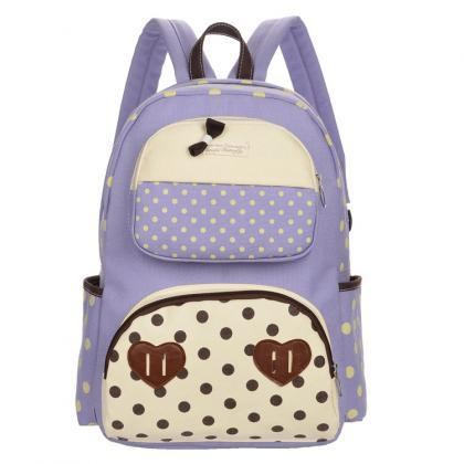 Polka Dot Print Bowknot Backpack Sc..