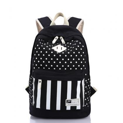 Polka Dot And Strip Print School Ba..