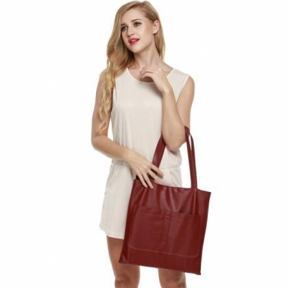 Retro Women Synthetic Leather Shoul..