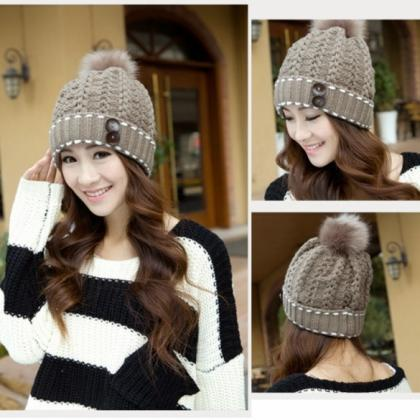 Women's Winter Warm Hats Braided Cr..