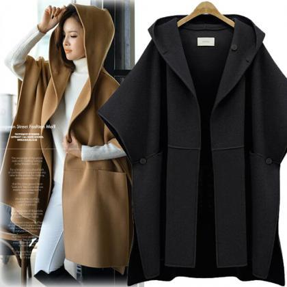 Hooded Lapel Bat-wing Sleeves Mid-l..