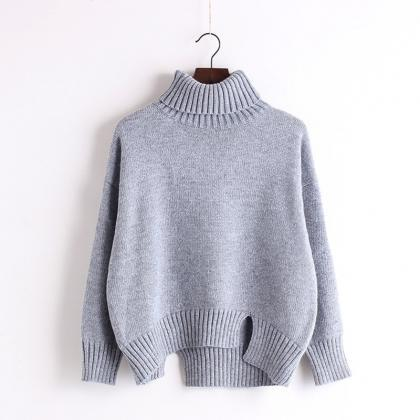 High Neck Solid Knit Pullover Short..