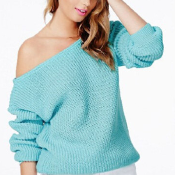 Solid Knitted Pullover Off Shoulder..