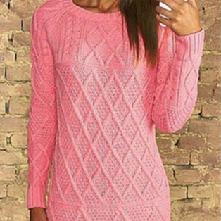 Solid Scoop Long Sleeve Knit Pullov..