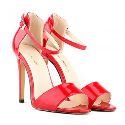 Sexy High-Heeled Peep-Toe Patent Le..