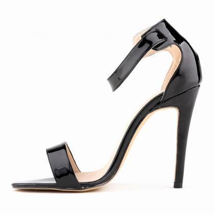Glossy Open-toe Buckle Ankle-Strap ..