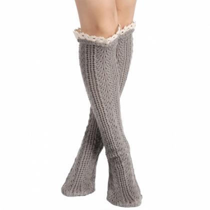 Avidlove Button Boot Socks With Lac..