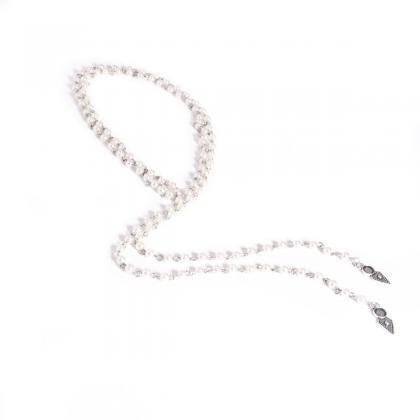 Handmade Beaded Long Pearl Necklace