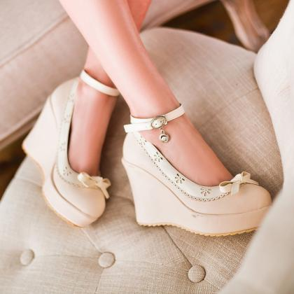 Sweet Bowknot Wedges Ankle Strap Sh..