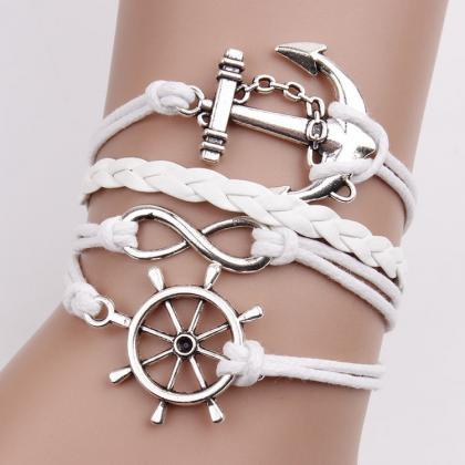 Anchor Number Eight Leather Bracele..