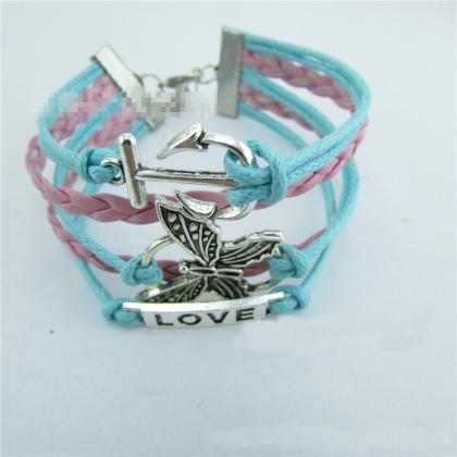 Butterfly Anchor Love Retro Leather..