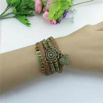 Love Heart Woven Friendship Bracele..