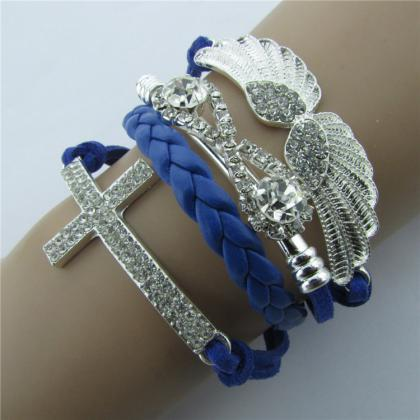 Retro Crystal Angel Wings Cross Lea..