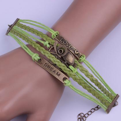 Green Love Dream Owl Handmade Brace..