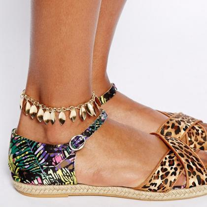 Fashion Leaves Tassels Anklet