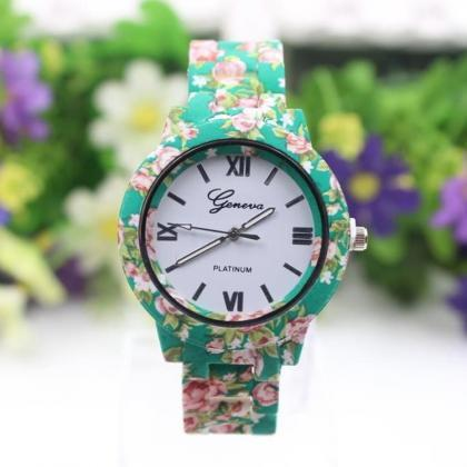Flower Print Plastic Strap Watch