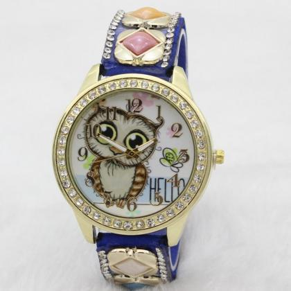 Cute Owl Square Gems Watch
