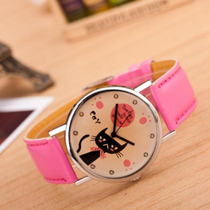 Cute Kitty Leather Watch
