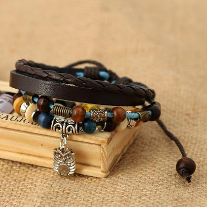 Owl Pendant Beaded Leather Bracelet