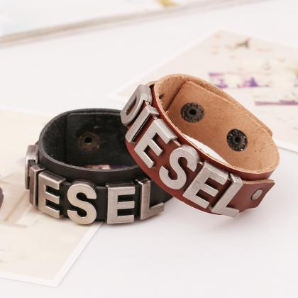 Punk Style Letters Leather Bracelet