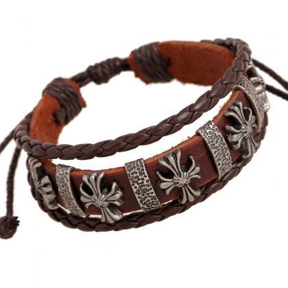 Fashoin Cross Beaded Leather Bracel..