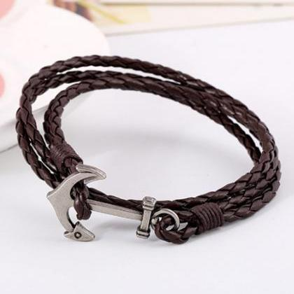 Fashion Anchor Leather Multilayer B..