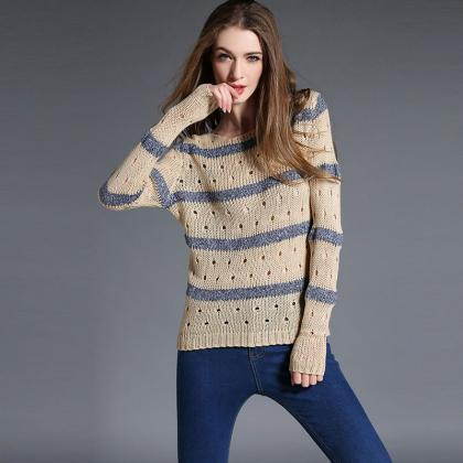 Fashion Stripe Hollow Out Pullovers..