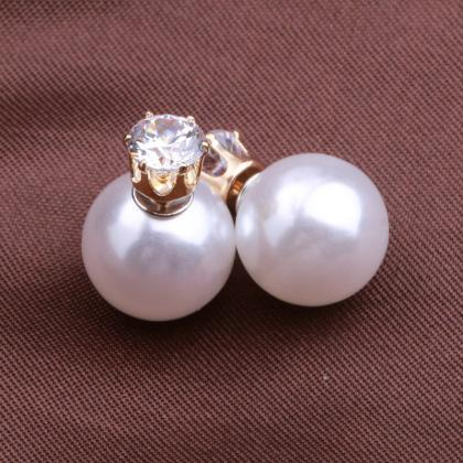 Fashion Crystal Zircon Double Pearl..