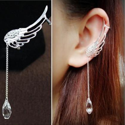 Fashion Long Crystal Wings Tassel S..