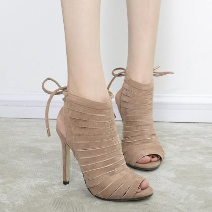 Lace Up Belt Splicing Peep Toe Sand..