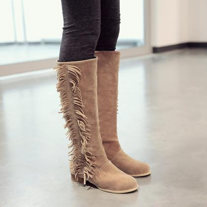Round Head Tassels Chunky Heel High..
