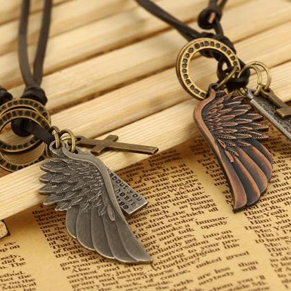Angel wings Leather Necklace