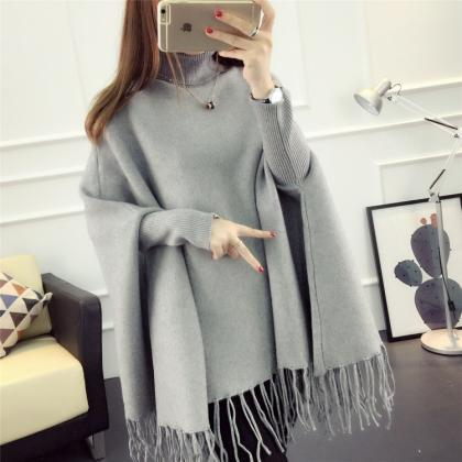 Fashion High Neck Tassel Cloak Swea..