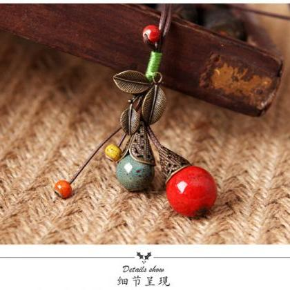 Fall fruit red bead leaf ceramic Ne..