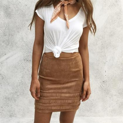 Suede Tassel Patchwork Slim Bodycon..
