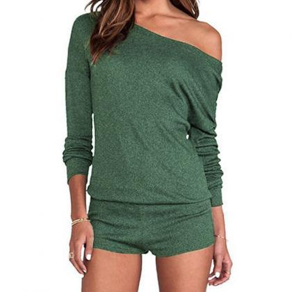 Long Sleeve One Shoulder Pure Color..