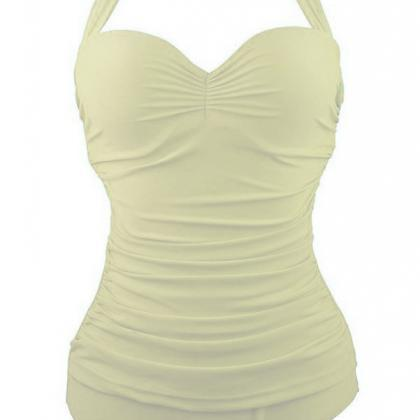 Halter Wrinkled Padded One Piece Sw..