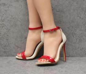 Glossy Open-Toe Ankl..