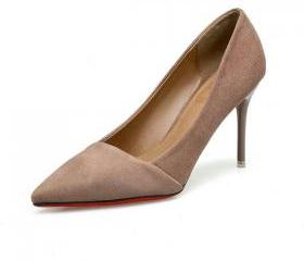 Faux Suede Pointed-T..