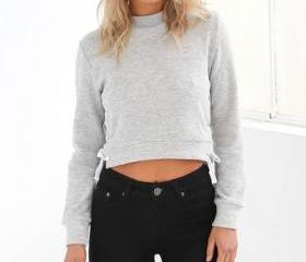 Lace-Up Crop Sweatsh..