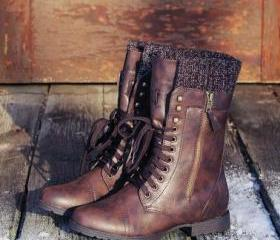 Leather Lace-up Plat..