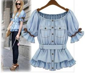 Faux Denim Shirt Wom..